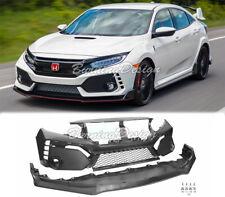 Type-R Style Front Bumper Unpainted Fascia Set For 16-18 Honda Civic Coupe Sedan