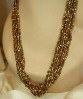 Long Brown And White Vintage 80's Glass 10 Strand Seed Bead Necklace 49S6