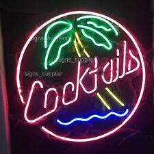 """New Cocktails Palm Tree Beer Bar Gift Pub Neon Light Sign 24''x20"""""""