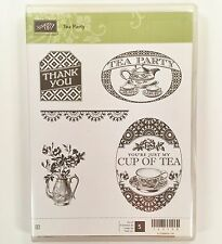 Stampin Up Tea Party Set Teapot Saucers Cup Thank You Flowers Rubber Stamps #6B