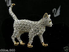SIGNED SWAROVSKI  PAVE' CRYSTAL CAT  PIN ~ BROOCH RETIRED NEW WITH TAGS