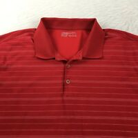 Nike Golf Polo Shirt Men's XL Fit Dry Red White Stripes 1/4 Button Short Sleeve