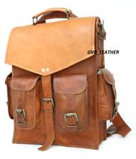 Vintage Style Real Genuine Leather Bag Rucksack Backpack Dark 2 in 1 Bag
