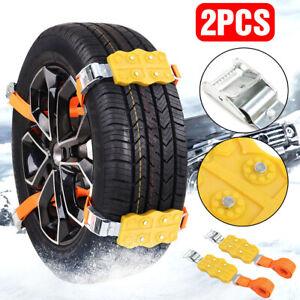 2 pack Snow Chains TPU Car Truck SUV Tire Wheel Emergency Ice Mud Belt Anti-skid