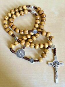 Blessed Rosary Necklace Wood Beads Jerusalem Crucifix Holy Land