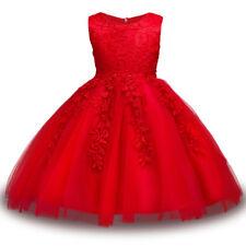 New Sleeveless Wedding Girls Dress Princess Lace Bridesmaid Party Kids Clothes