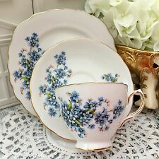 ROYAL VALE BONE CHINA 1960s TRIO CUP SAUCER PLATE SET FORGET ME NOT BLUE 7911