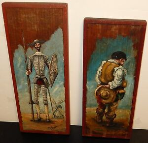 RARE PAIR OF R.R.PINEDA OIL ON WOOD MEXICAN FOLK DON QUITOTE, SANCHO PAINTINGS