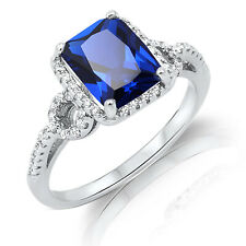 Large Emerald Blue CZ Genuine Sterling Silver Ring Size 4 - 12