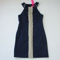 NWT Lilly Pulitzer Pearl Stretch Shift in True Navy Double Strap Dress 8 $198