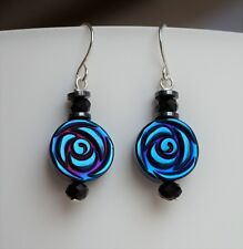 Rose Hematite Gemstone Earrings Sterling Silver Ear Hook