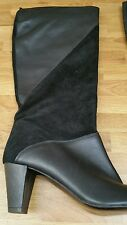 George Black Leather/suede Mid Heel Long Boots Size UK 6.5 or 40 NEW pull on