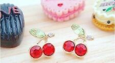 New Fashion Lovely Sweet Crystal Red Cherry Stud Earrings Hot Gift
