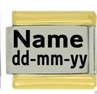 Custom Gold Trim Name & Date - Birthday - Daisy Charm Fits Italian Modular charm