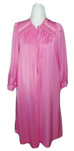 Vtg Miss Elaine Pink Lightweight Duster Button-Up Housecoat Long Sleeve Small