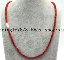 "Natural Hand Made 2x4mm Red Coral Rondelle Beads Gemstones Necklace 20""AAA"