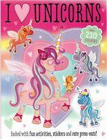 I Love Unicornios Pegatina Y Libro de Actividades Con Press-Outs Sobre 250