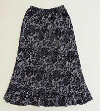BRIGGS NEW YORK Lace Ruffle Elastic Waist Black White Skirt Petite Size PS NWOT