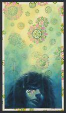 Sandman DEATH FLOWER POWER print * Felipe Echevarria * acrylic on 60's wallpaper