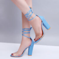 Women's High Block Heel Ankle Lace Up Peep Toe Sandals Shoes Strappy Transparent
