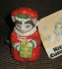 SCHMID KITTY CUCUMBER CHRISTMAS FIGURINE ELLIE HOLDING A GIFT NOS