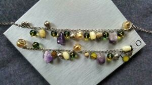 New Silver necklace and bracelet set with amethyst, silver and gold plated beads
