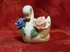 New listing Vintag porcelain Swan toothpick holder W/ blue and pink flowers China Pristine