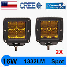 2X 3Inch 16W CREE LED Work Light Amber Cube Pods Driving Work Fog SPOT Light 5D