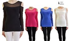 LADIES WOMENS COLD SHOULDER TOPS FULL ARMS OFF SHOULDER NET ARMS