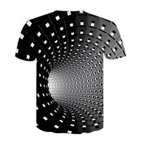 3D Hypnosis Swirl Print Women Men Casual T-Shirts Short Sleeve Graphic Tee Tops