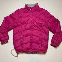 LL Bean Womens Medium Goose Down Puffer Jacket Parka Coat PINK Zip Pockets