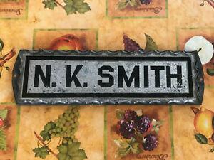 1930's Era Glass & Metal House Name Plaque -  N. K. Smith , Free S/H