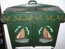 """LARGE  25"""" ANTIQUE DUTCH FRISIAN WOODEN BOX WITH BEAUTIFUL PAINTINGS."""