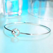 18k white gold made with SWAROVSKI crystal slim bangle openable bracelet hexagon