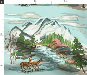 Deer Mountains Trees Paint Number Vintage Woodsy Spoonflower Fabric by the Yard