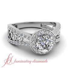 Filigree Vintage Inspired Engagement Ring With Round Cut Halo Diamond 1.75 Carat