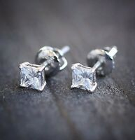 White Gold Small Women's Mens Mini Cz Princess Cut Screw Back Mens Stud Earrings