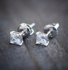White Gold Small Women's Mens Mini Cz Princess Cut Screw Back Mens Stud Earrings