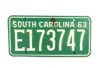 Vintage License Plate 1963 South Carolina Green White Letters E 173747