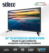 "TV LED SELECO 32"" EASY LIFE TELEVISORE SE32HDT HD READY 16:9 HDMI DV3-T2 NERO"