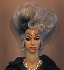 STUNNING HAND STYLED 2 TONE SILVER/BLACK GLITTERY LACE FRONT UPDO DRAG QUEEN WIG