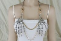 Women Silver Chains Metal Body Jewerly Halloween Gothic Necklace Skeleton Skulls