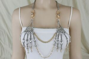Women Silver Chains Metal Body Jewerly Halloween Gothic Necklace Skeleton Skulls
