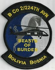 US ARMY B CO 2/224TH AVN PATCH-   'BEASTS OF BURDEN'                       COLOR