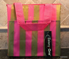 Lunch Tote Insulated Pink Gold Stripe Pocket Front Stylish Sturdy Travel Bag