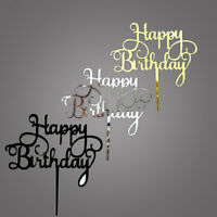 Happy Birthday Acrylic Cake Topper Decor Silver Gold Black Party Decoration