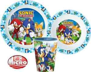 Sonic The Hedgehog 3 Piece Plate Bowl Cup Set Dinner Breakfast Set
