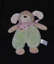 Peluche doudou chien PLANET PLUCH JEMINI vert bandana rose grelot 20 cm TTBE