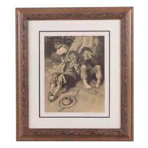 """Rare 1932 NORMAN ROCKWELL Hand Signed Framed L/E Lithograph  """"First Smoke W/Coa"""