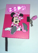 Disney MINNIE MOUSE Oops! DELUXE DIARY +Heart Padlock SECRET NOTEBOOK Pink Black